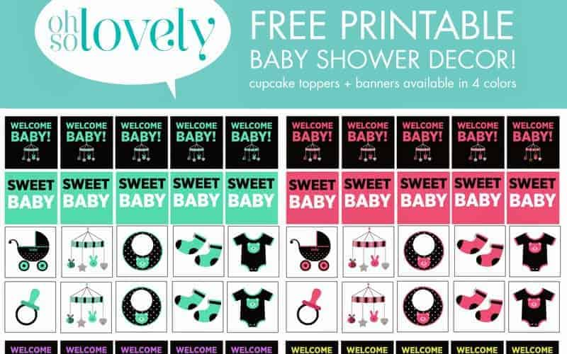 FREEBIES  //   BABY SHOWER BANNERS + CUPCAKE TOPPERS