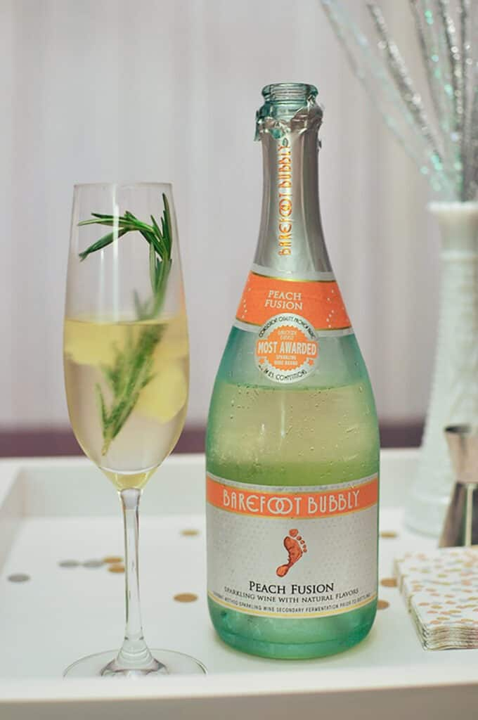 aromatic bubbly NYE cocktail