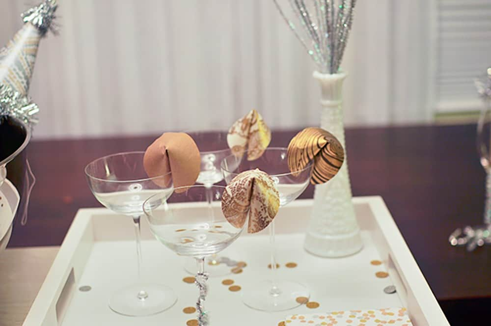 NYE-themed paper fortune cookies cocktail