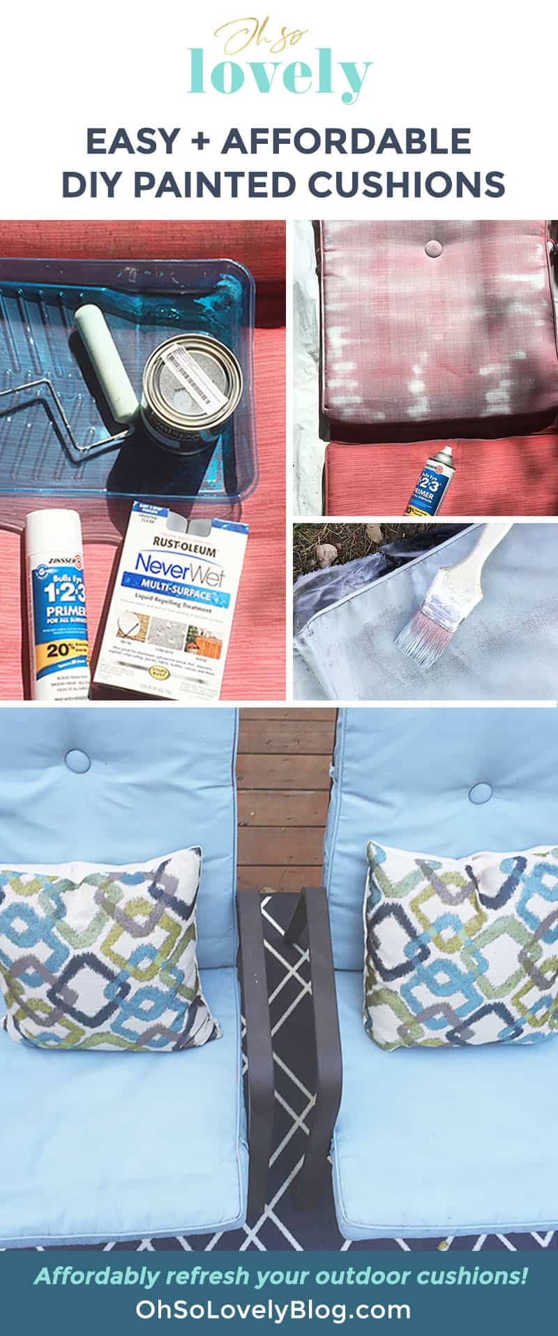DIY painted cushion tutorial — update your outdoor chairs on a budget!