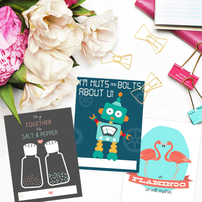 Robot, Flamingo, Salt and Pepper Free Valentine's Day printables