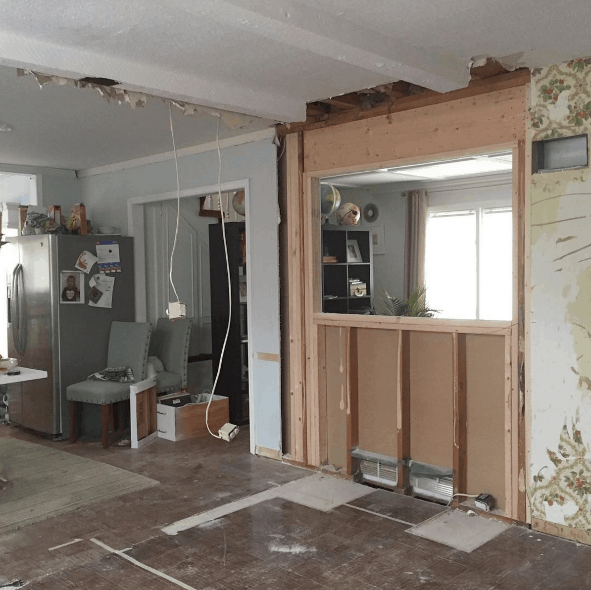 diy ikea kitchen layout before photos passthrough loadbearing