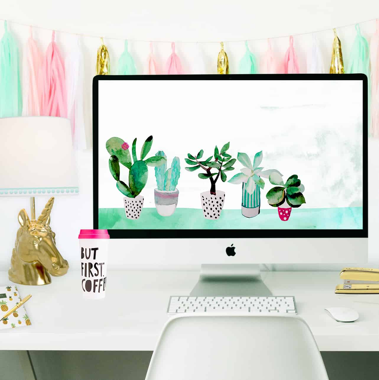 Office Desk Wallpaper: Free Succulent Desktop Wallpaper To Pretty Up Your Desk Space