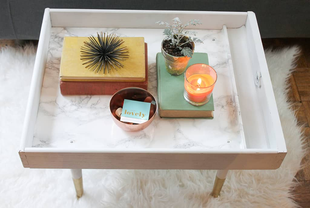 DIY Upcycled Drawer to Modern Coffee Table