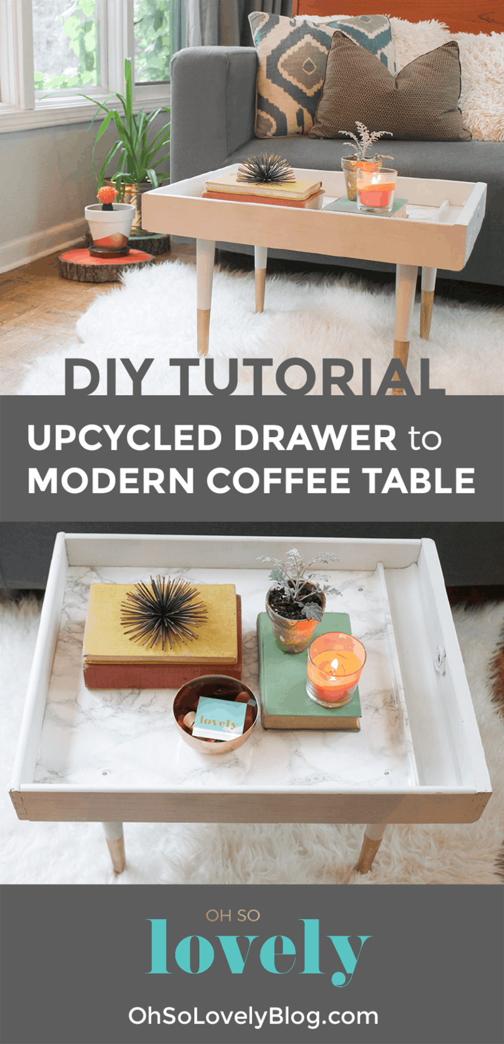 DIY Upcycled Drawer to Coffee Table Tutorial