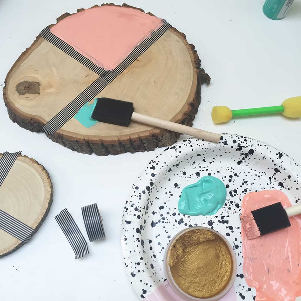 DIY wood slice key holder