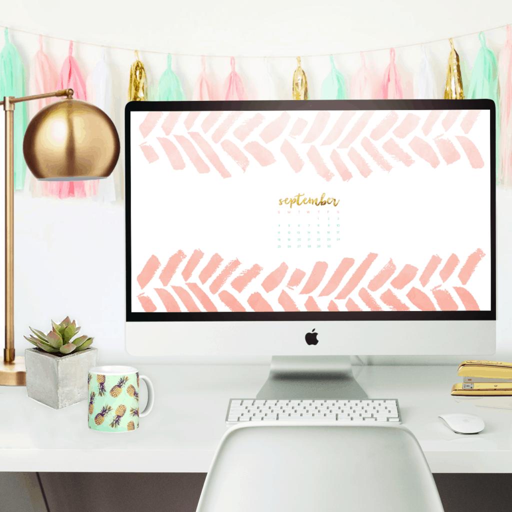 Free September desktop wallpaper calendars paint swoosh