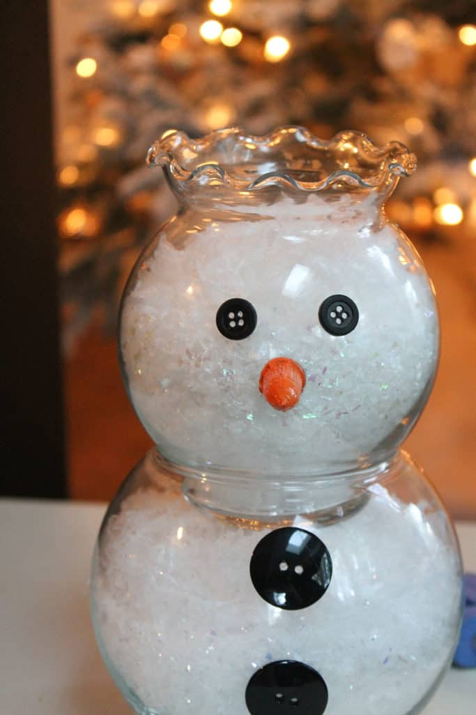 DIY fish bowl snowman
