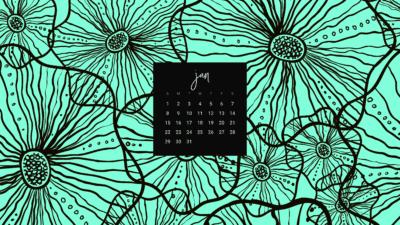 FREE January desktop calendar wallpapers