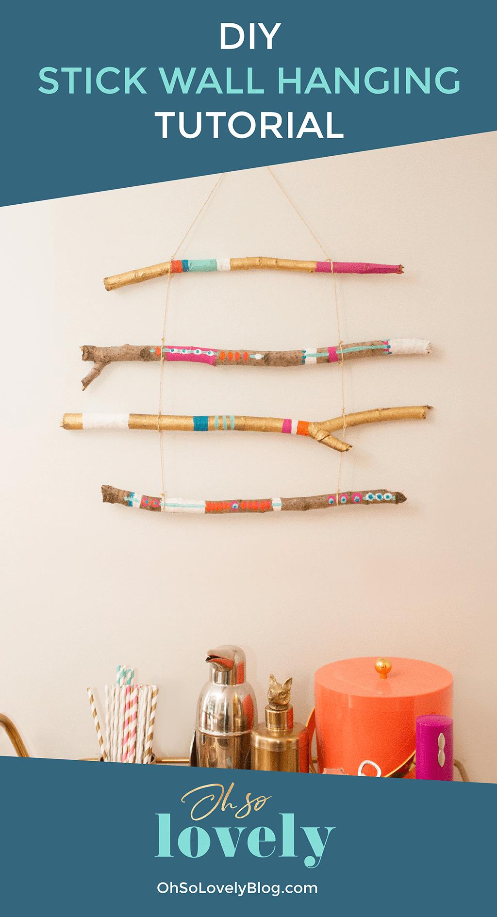 DIY stick wall hanging