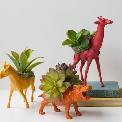 DIY toy animal planter tutorial