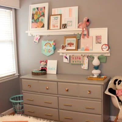 Bedroom Progress + Minted Art Shelves