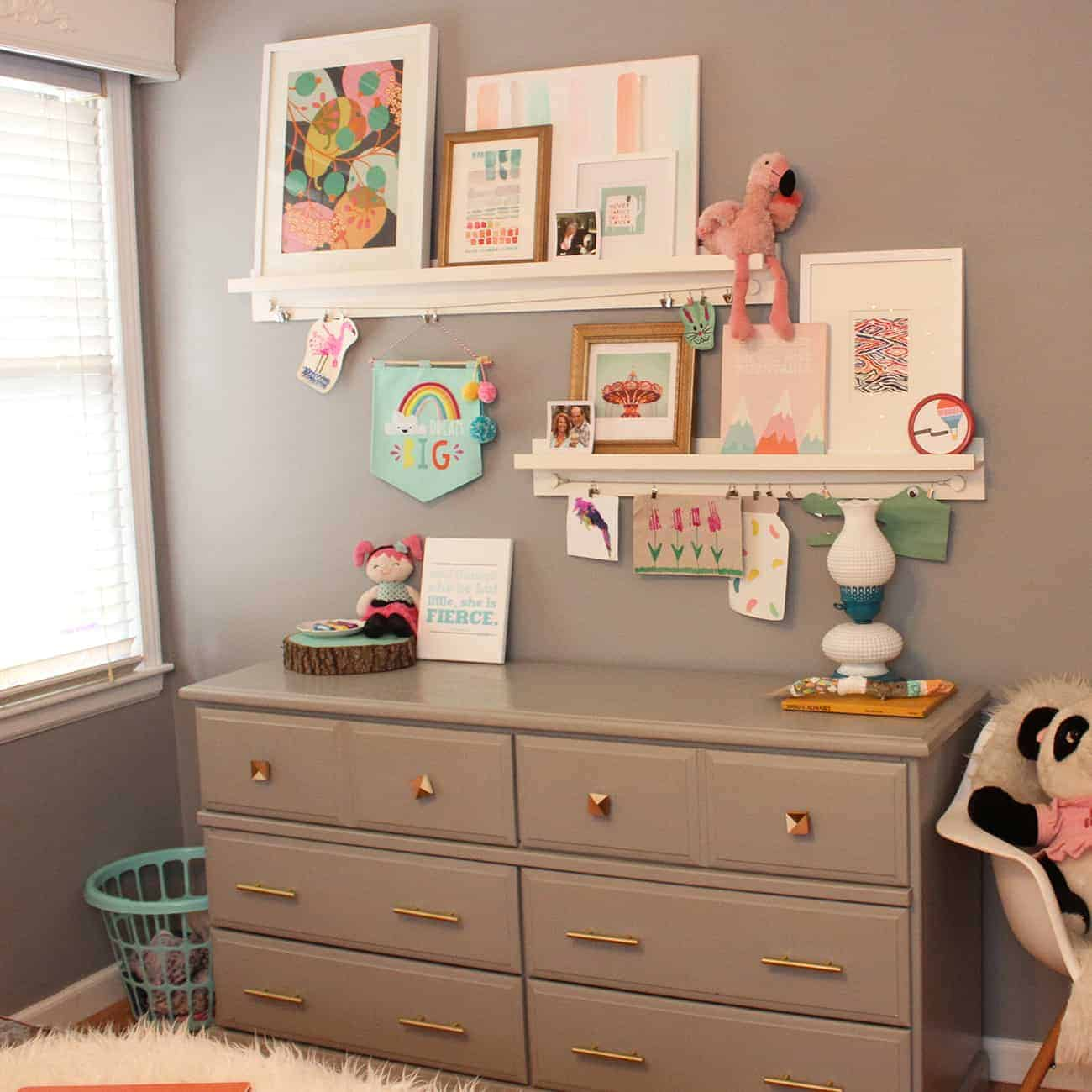 @ohsolovely_blog's cover photo for 'Bedroom Update Minted Art Shelves - Home Tour'