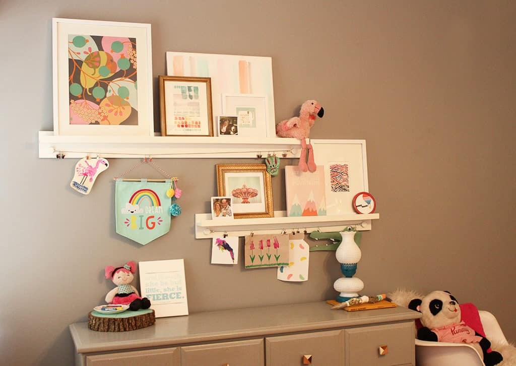 Bedroom Update Minted Art Shelves