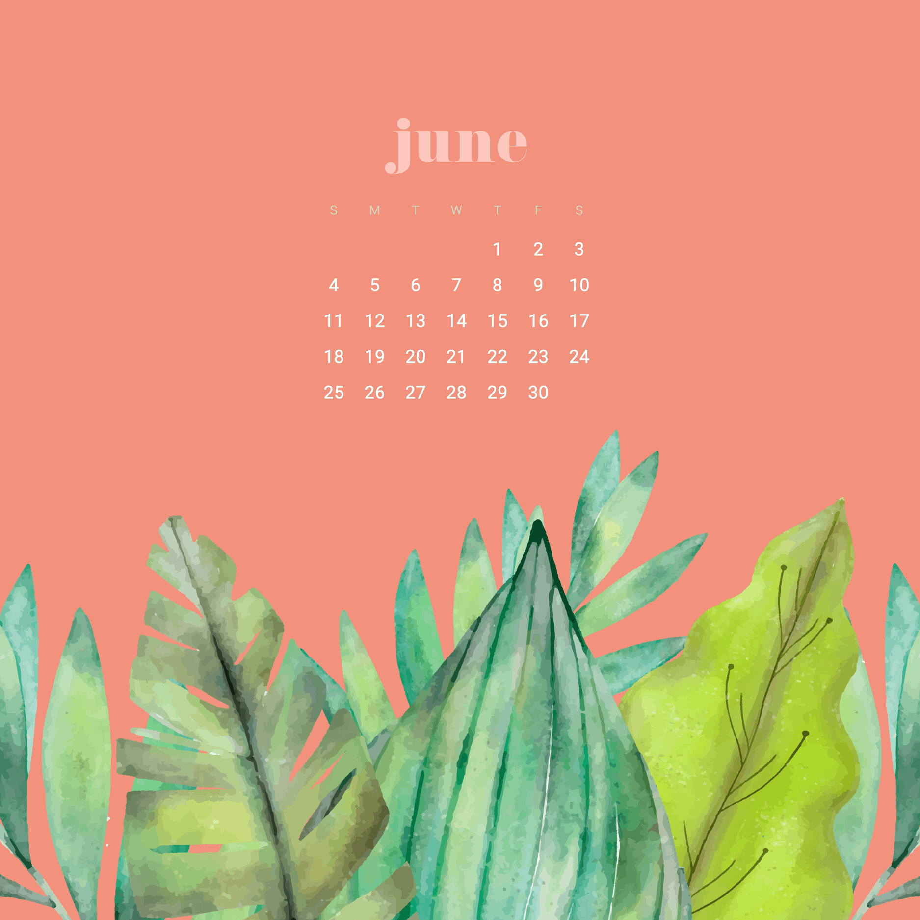 free june desktop wallpaper calendars featuring greenery