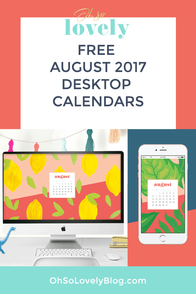 Download your FREE August Calendar Wallpapers - 6 options to choose from in both Sunday and Monday start dates!