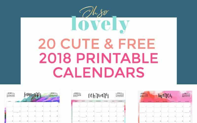 FREE 2018 PRINTABLE CALENDARS