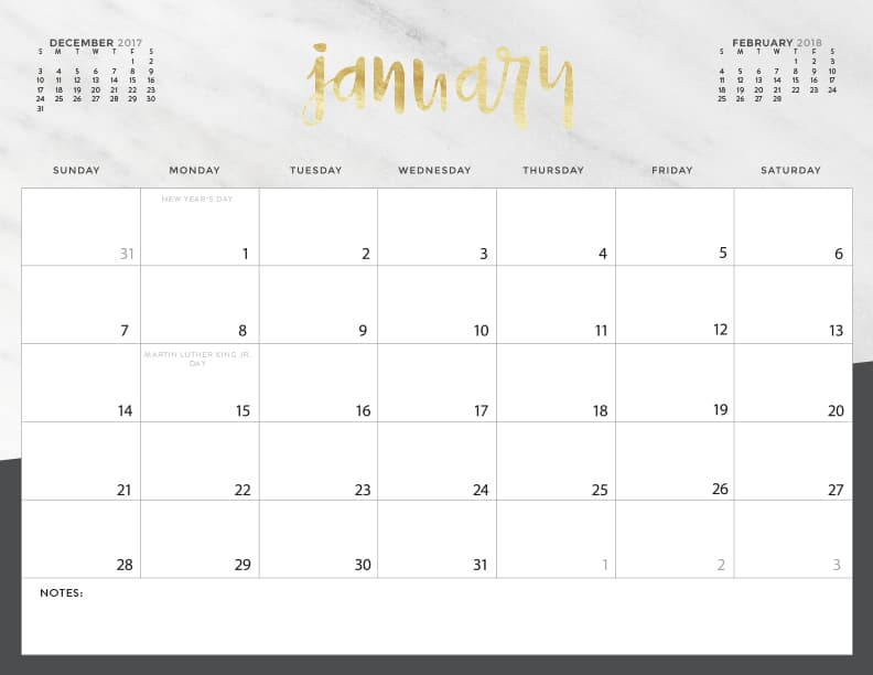 Download your FREE 2018 Printable Calendars today! There are 20 designs to choose from in both Sunday and Monday start dates!