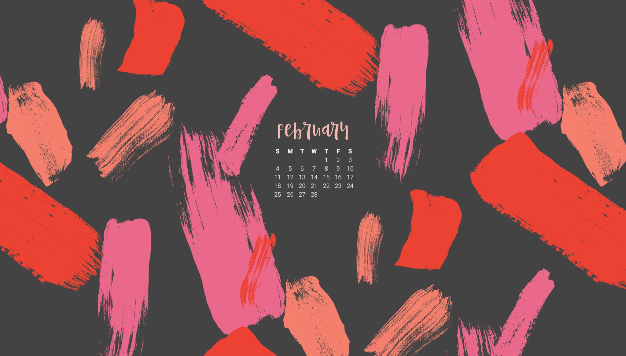 Free February desktop wallpaper calendars