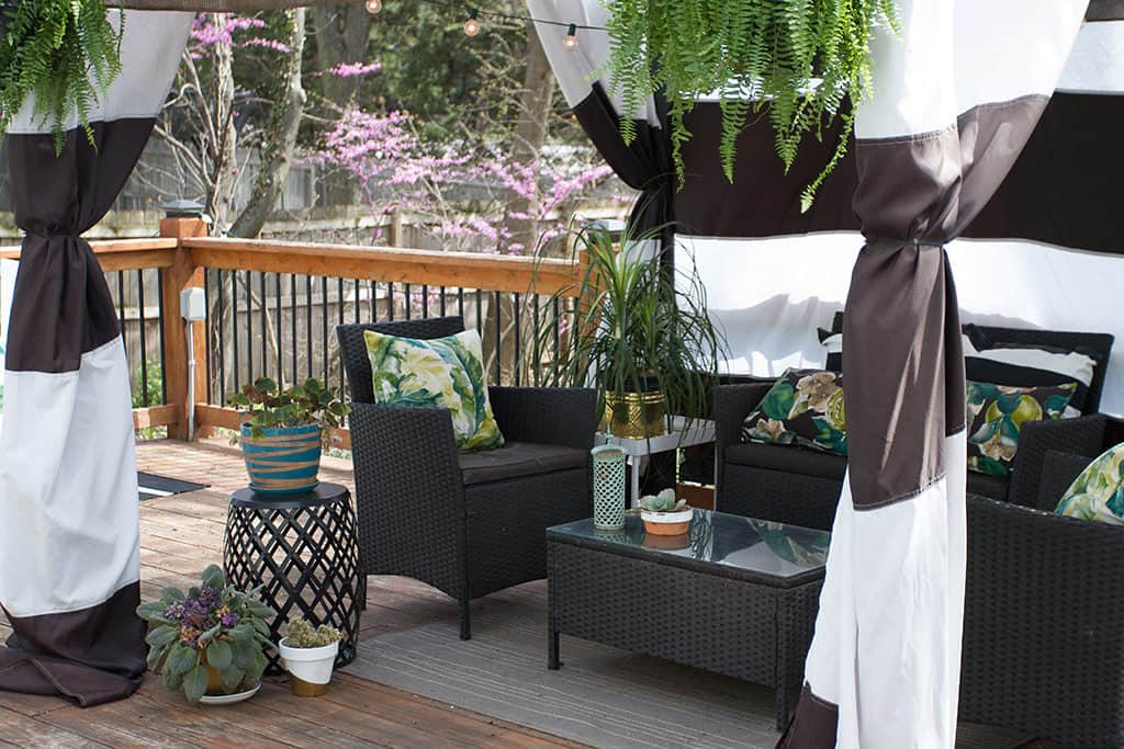 Audrey of Oh So Lovely Blog shares her deck cabana and outdoor spring spruce up wishlist from Joss & Main