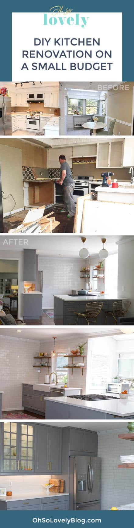 The journey of a DIY kitchen remodel on a small budget. Check out all the the before, during and after photos + product details! We saved almost $50,000 by doing most of the work ourselves!