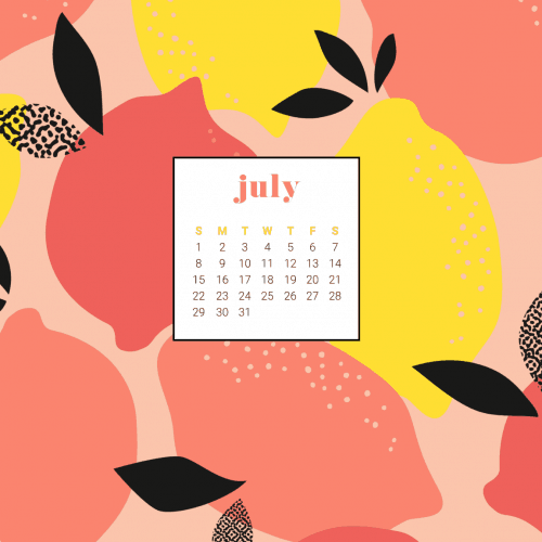 Audrey of OhSoLovelyBlog.com shares her FREE July 2018 calendar wallpapers in a summery lemon design. They are available in both Sunday and Monday starts for desktop and mobile. Download yours today!