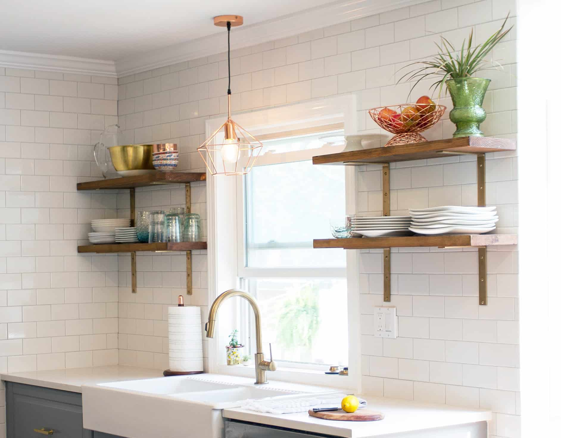 DIY kitchen open shelving tutorial