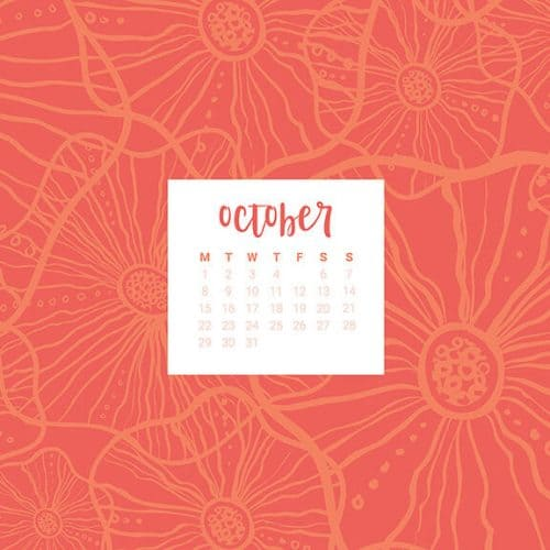 FREE October desktop calendars