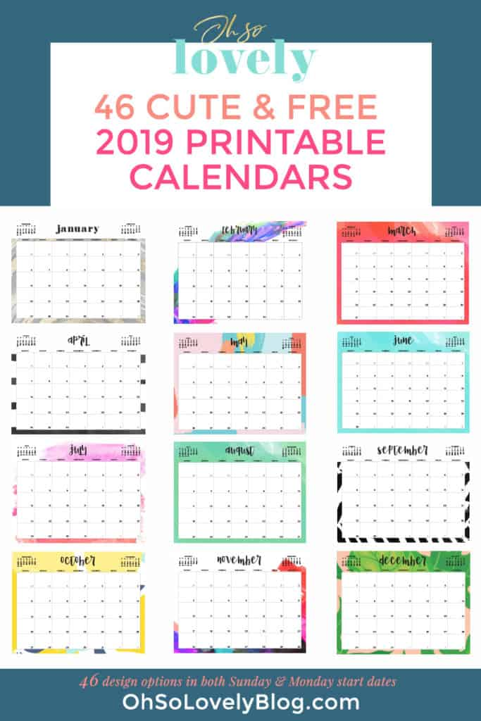 graphic about Printable Calendar Cute identify Free of charge 2019 printable calendars - 46 styles in direction of get towards!