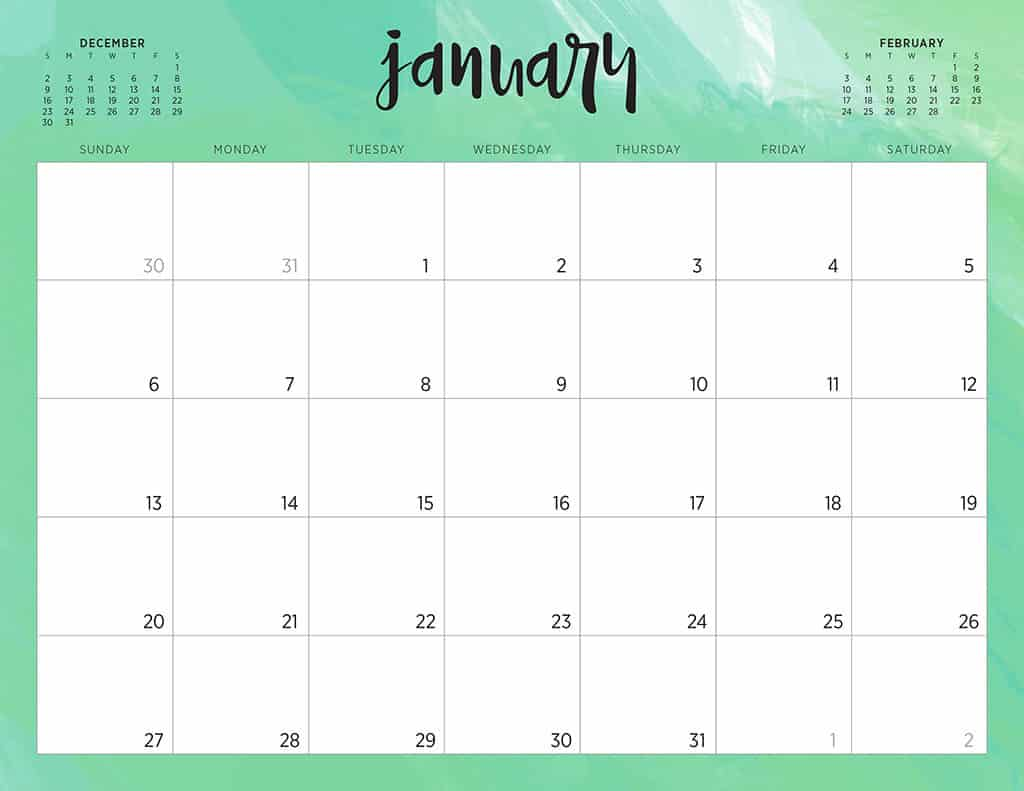 photo about Cute Monthly Calendar Printable named Absolutely free 2019 printable calendars - 46 options toward opt for against!