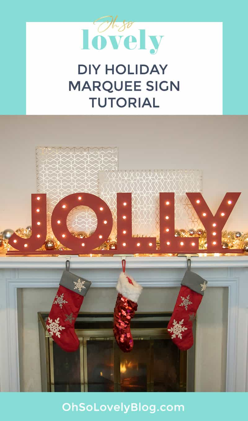 Audrey of Oh So Lovely Blog shares a DIY holiday marquee sign tutorial featuring CraftCuts stand alone lettering. So festive!