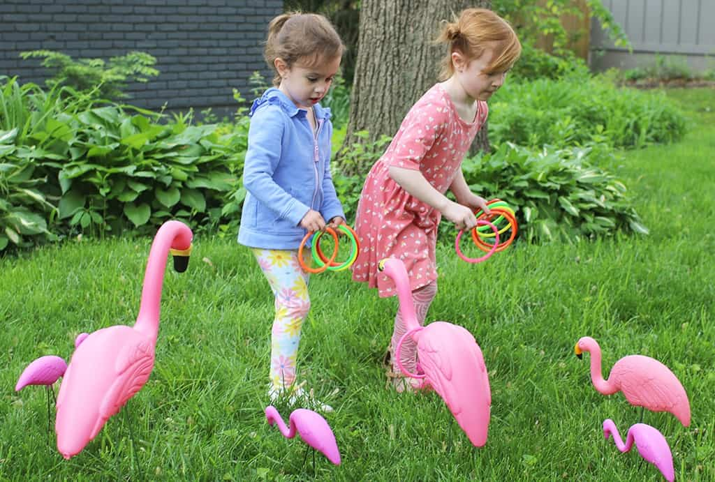 Audrey Kuether of Oh So Lovely shares a super fun and extremely easy DIY flamingo ring toss yard game tutorial—perfect for spring and summer!