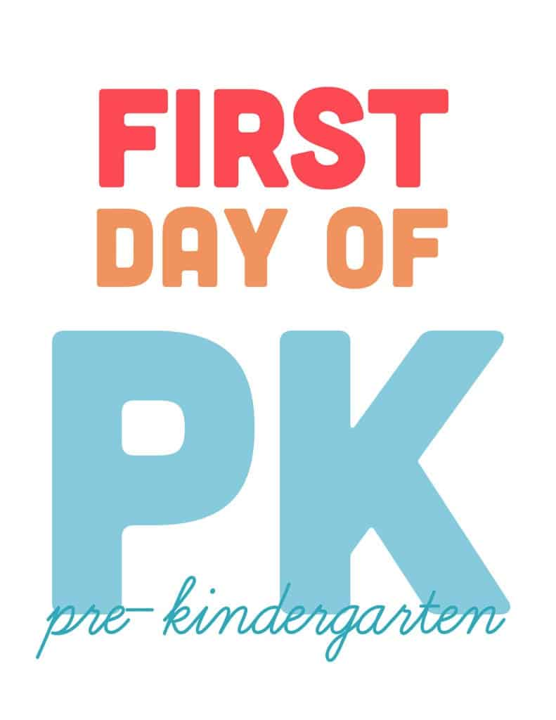 first day of pre-kindergarten free printable sign