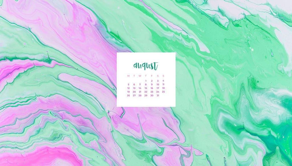 FREE August wallpaper calendars pink purple and aqua turquoise swirl paint August desktop calendar