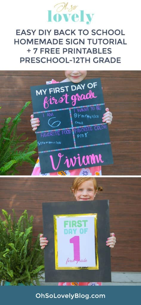 DIY homemade back to school sign free printable signs