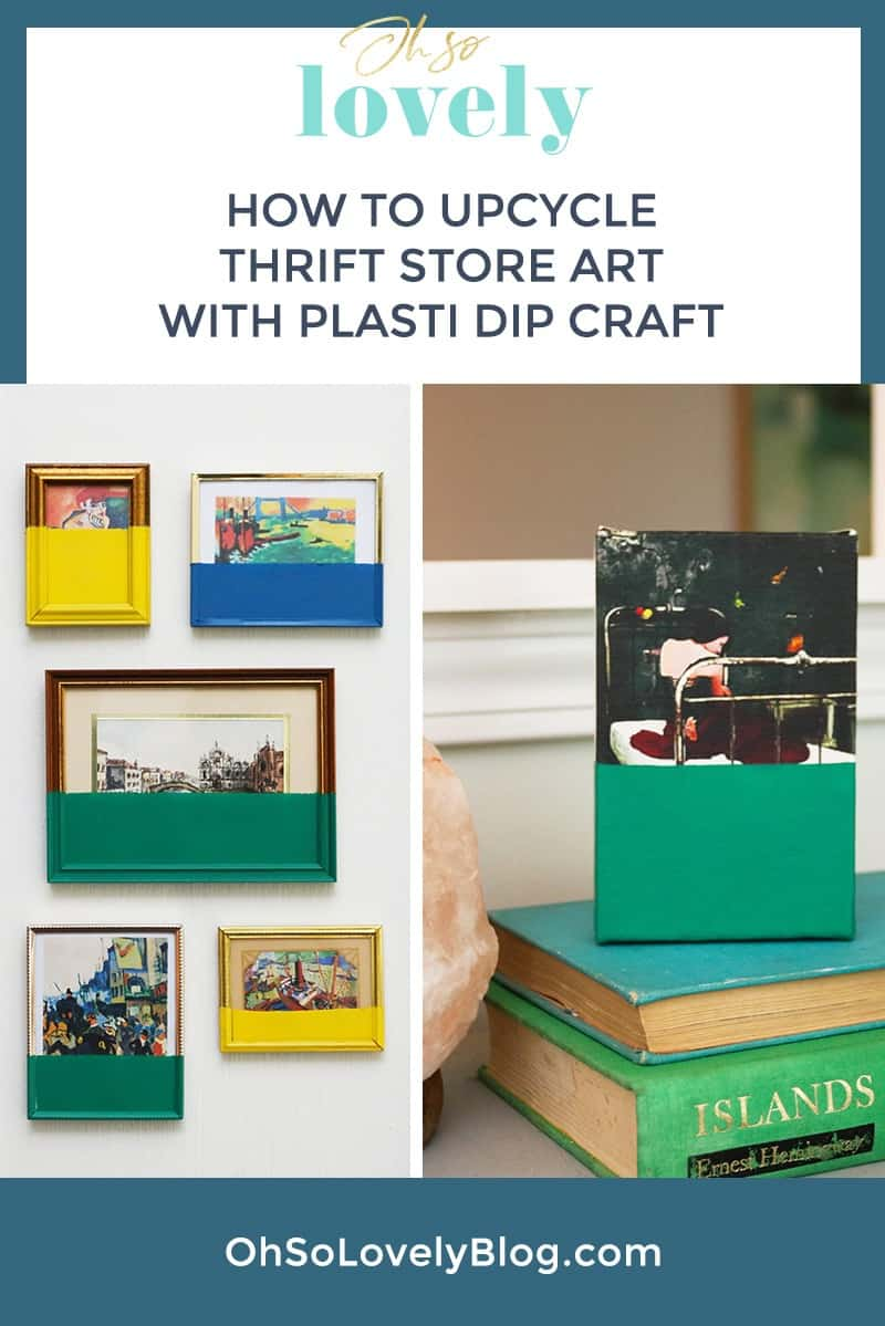 Want to learn how to upcycle thrift store art using Plasti Dip Craft? It's so easy to turn some blah art into a unique statement piece.