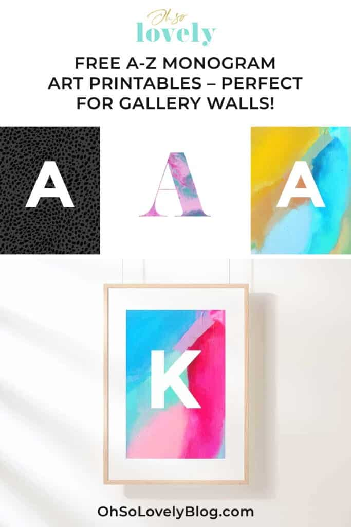 FREE monogram art printables