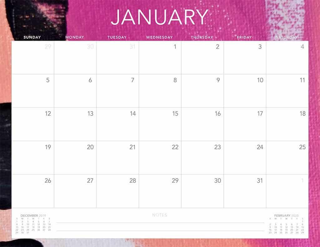 abstract 4 2020 free calendar