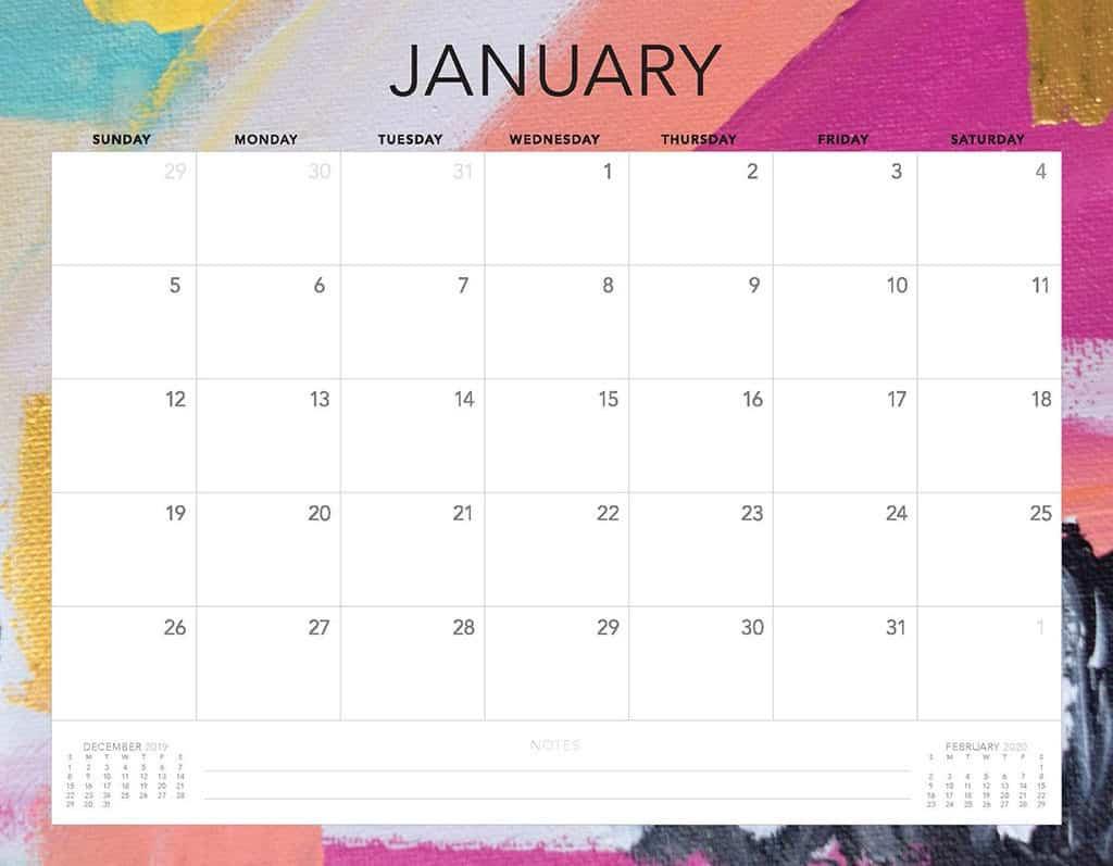 abstract 3 2020 free calendar