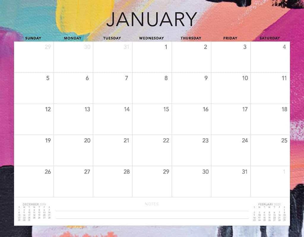 abstract 2 2020 free calendar