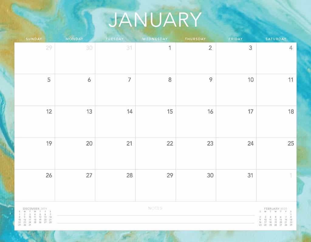 gold and turquoise 2020 free calendar