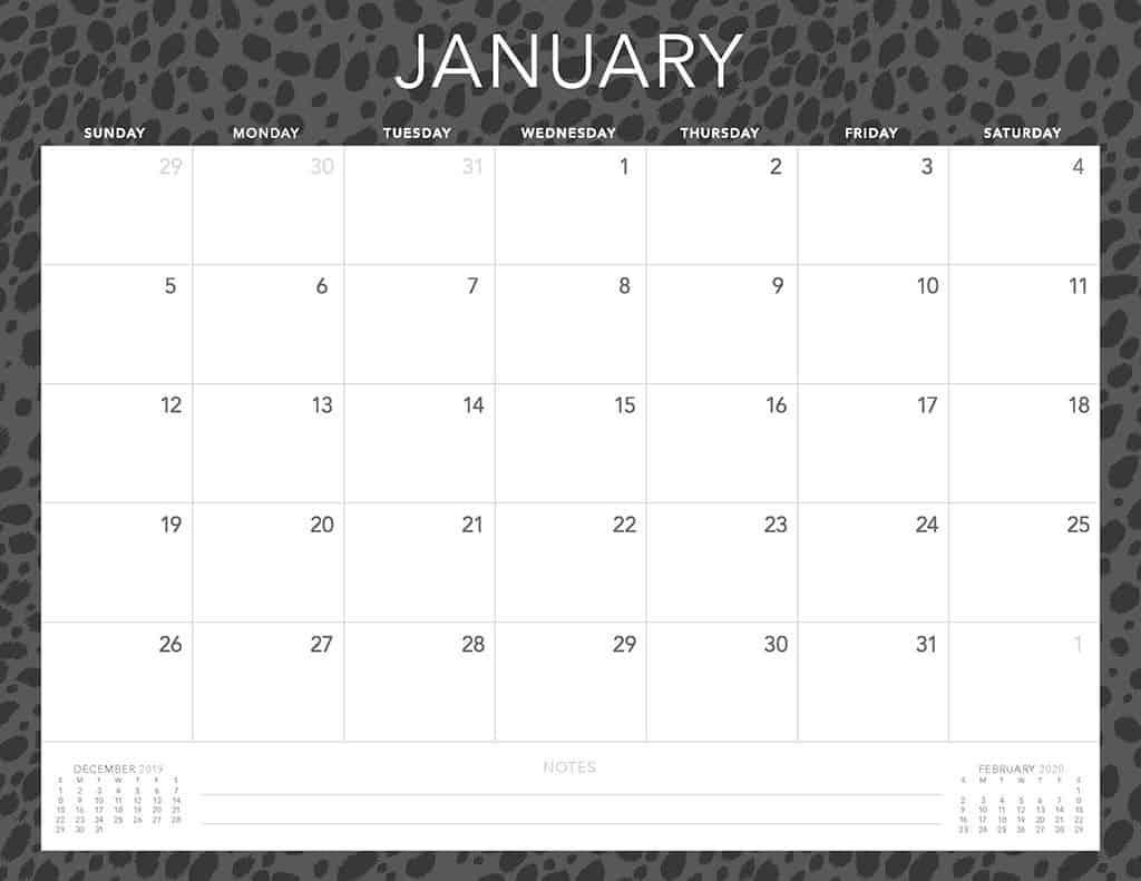 cheetah 2020 free calendar2