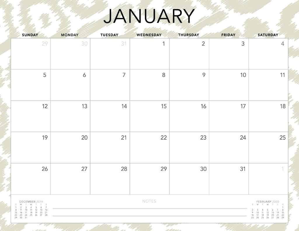 cheetah 2020 free calendar