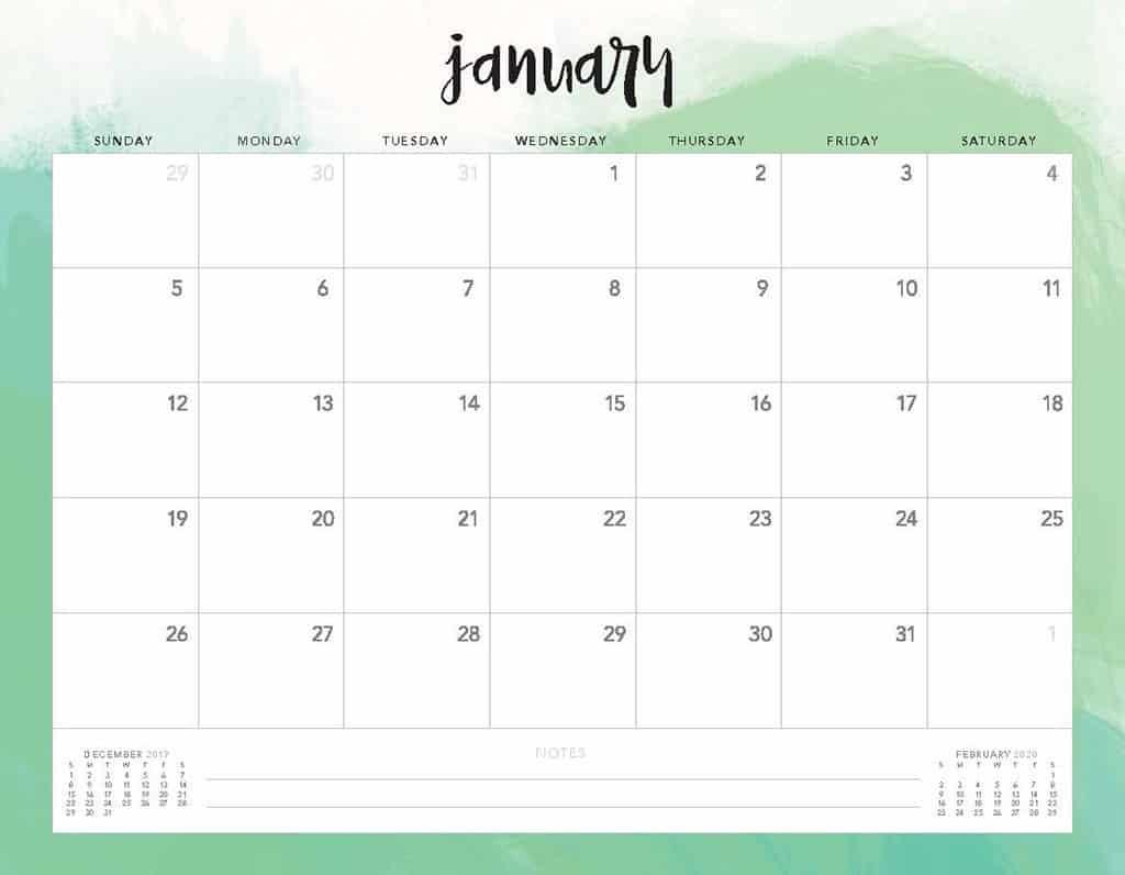 green clouds 2020 free calendar