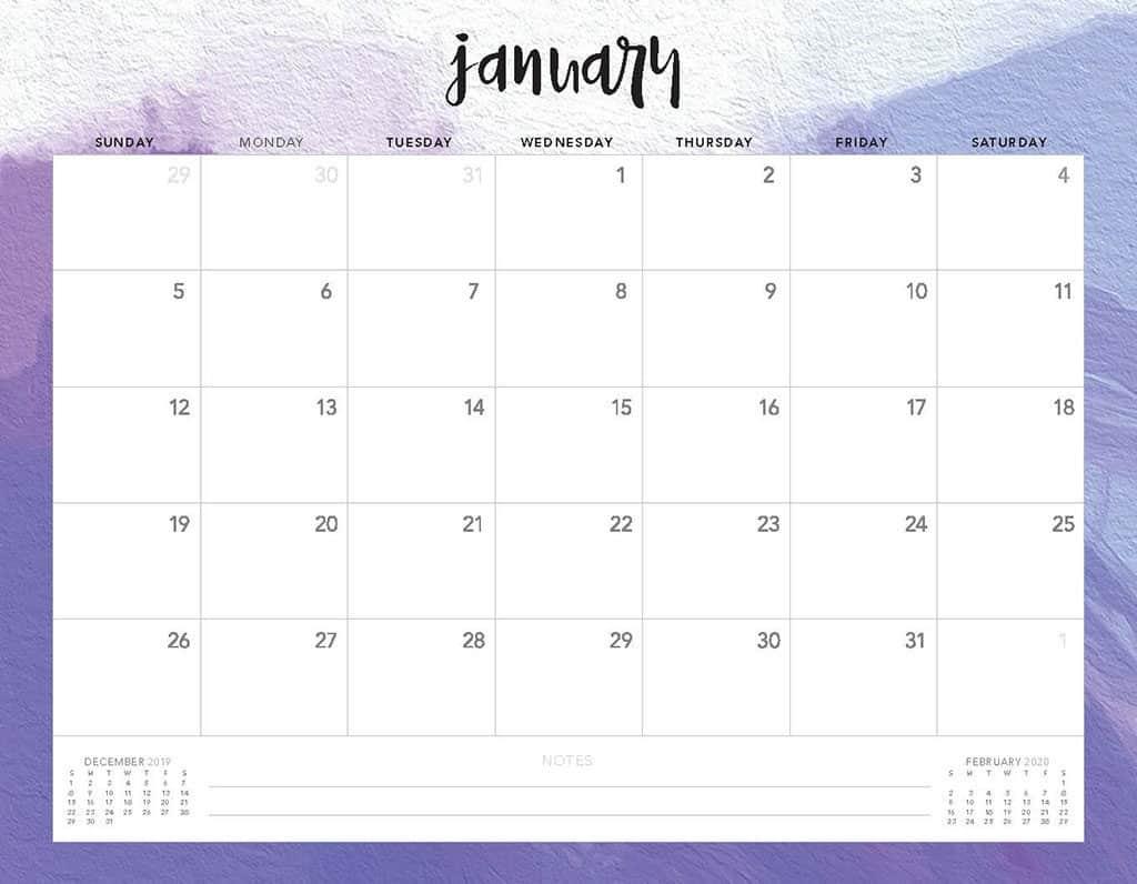 purple 2020 free calendar