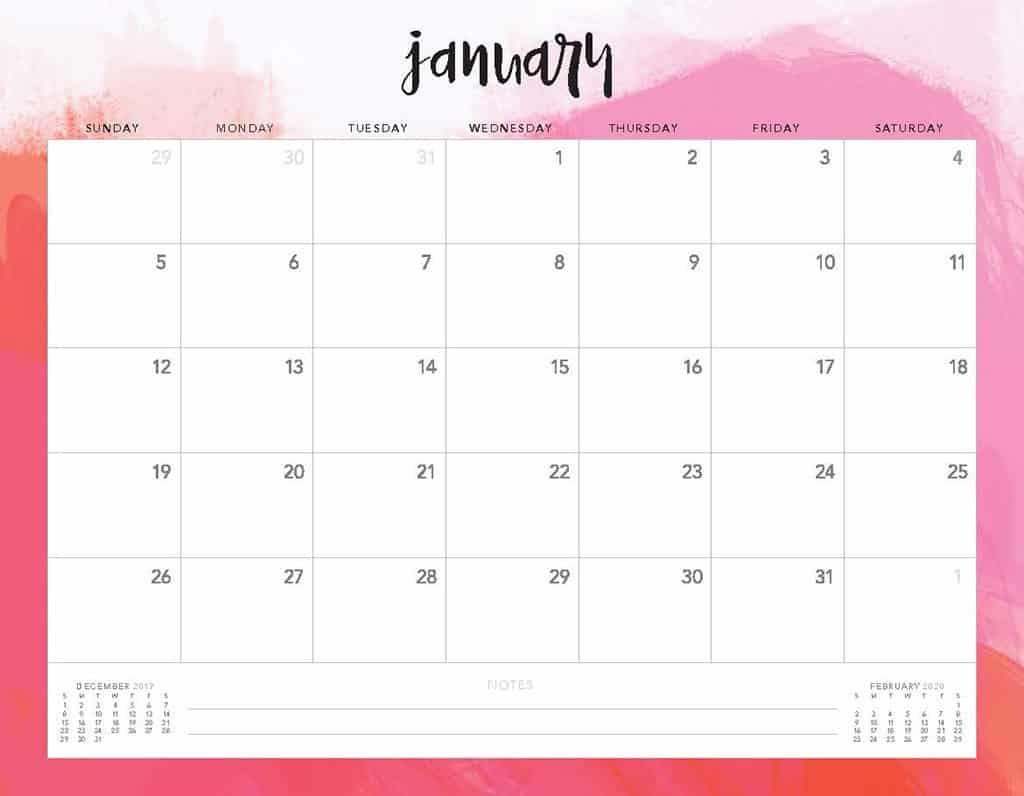 pink clouds 2020 free calendar