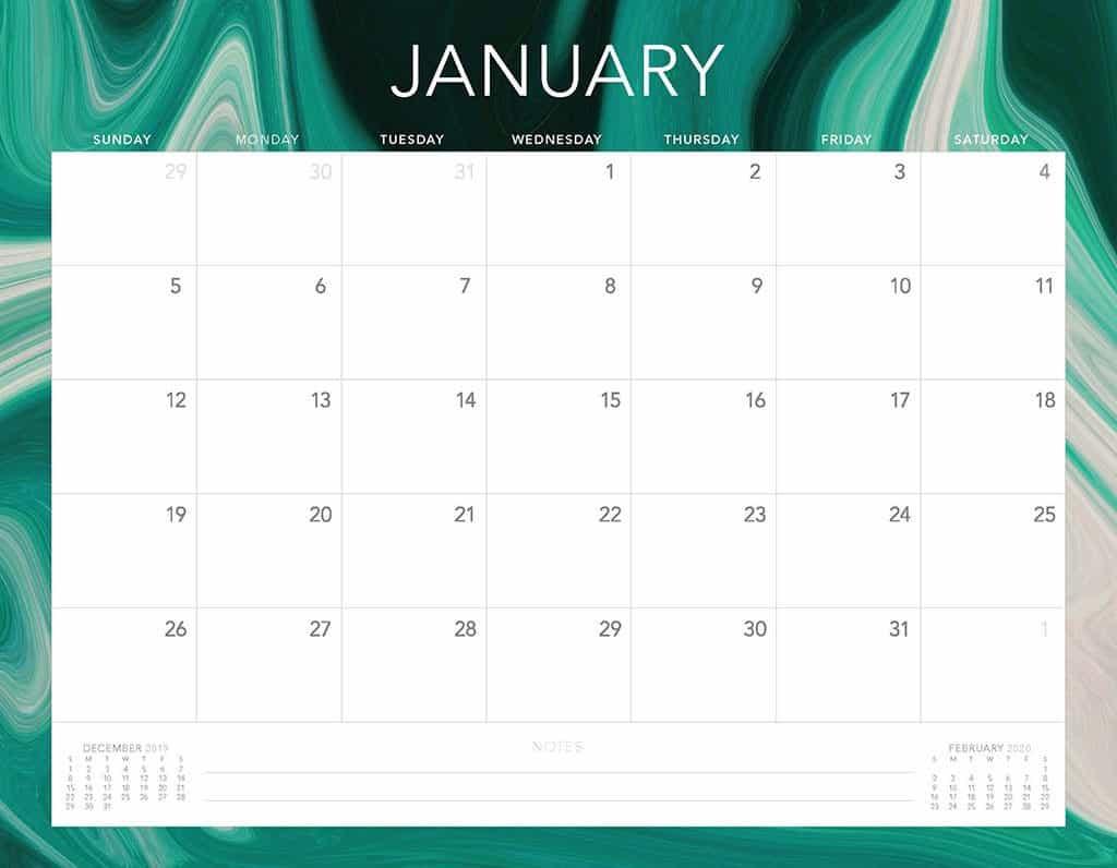 green swirls 2020 free calendar