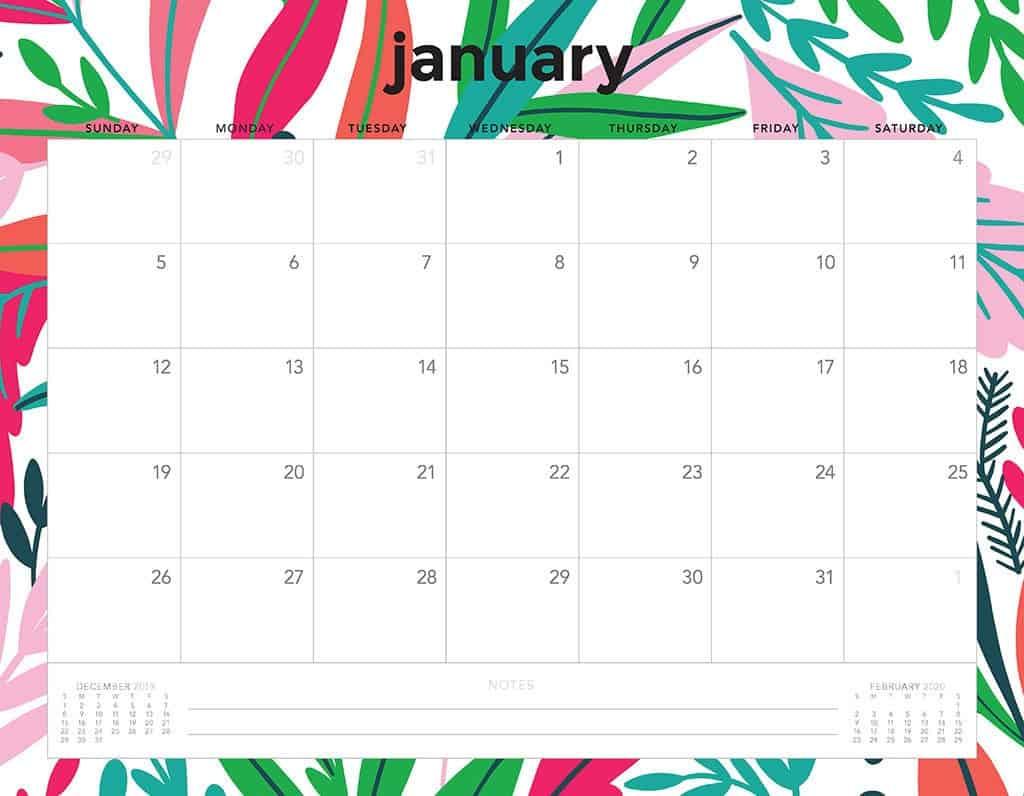flowers 2020 free calendar4