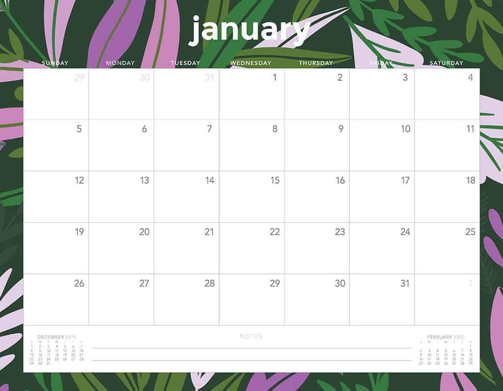 flowers 2020 free calendar3