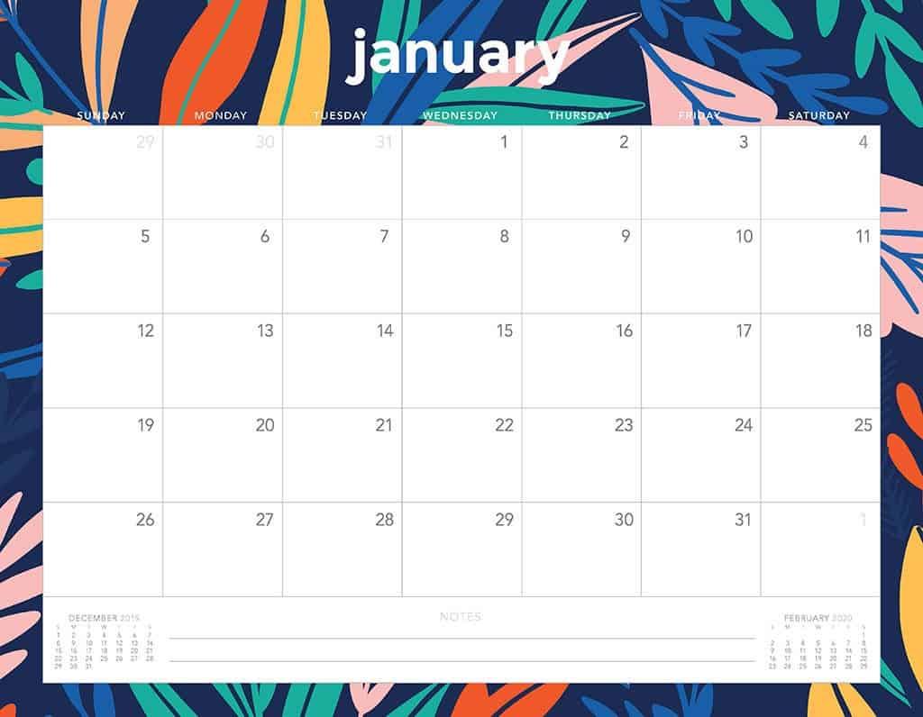 flowers 2020 free calendar